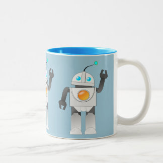 ROBOT TOY (BLUE) Two-Tone COFFEE MUG