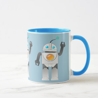 ROBOT TOY IN BLUE BACKGROUND MUG