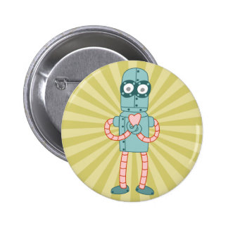 Robot Valentine Heart Buttons