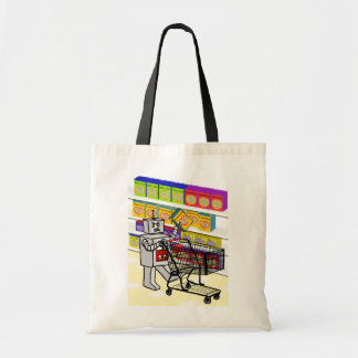 Robot vs Grocery Store Budget Tote Bag