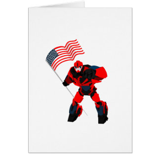 Robot with American Flag Boys for 4th of July Card