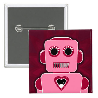 Robot with heart 15 cm square badge