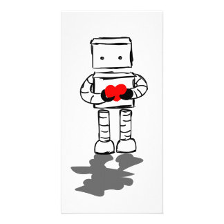 Robot with Heart Customized Photo Card