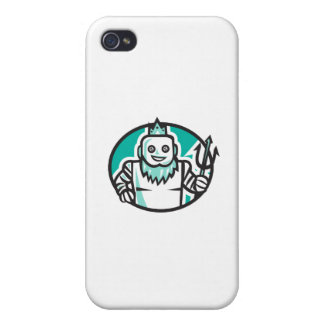 Robotic Poseidon Holding Trident Oval Retro iPhone 4 Case