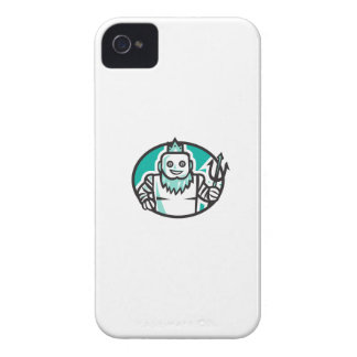 Robotic Poseidon Holding Trident Oval Retro iPhone 4 Case-Mate Cases