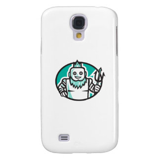 Robotic Poseidon Holding Trident Oval Retro Samsung Galaxy S4 Cover