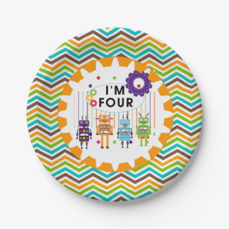 Robots 4th Birthday Paper Plates