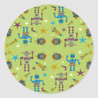 Robots and Rockets Round Stickers