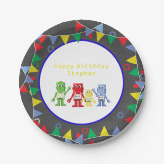 Robots Birthday party Paper plates Personalized