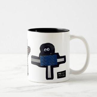 ROBOTS chrissy, stella, hendrix Two-Tone Coffee Mug