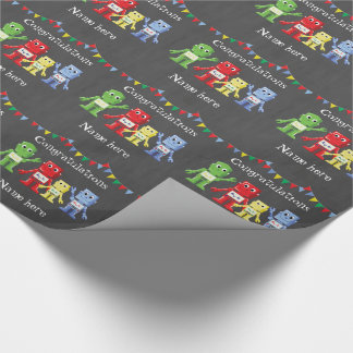 Robots illustrations multicolored wrapping paper