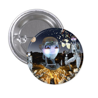 Robots in space 3 cm round badge