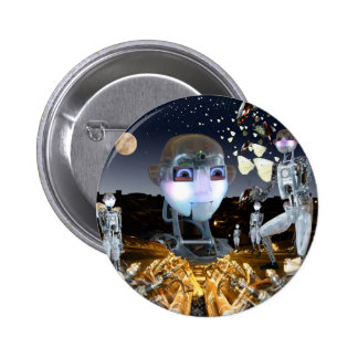 Robots in space 6 cm round badge
