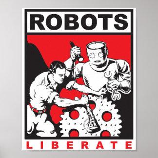 Robots liberate humans poster