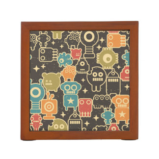 Robots on brown desk organiser