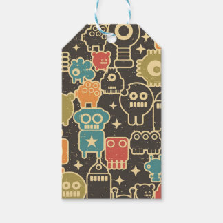 Robots on brown gift tags