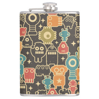 Robots on brown hip flask
