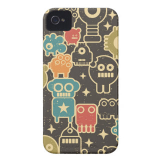 Robots on brown iPhone 4 case