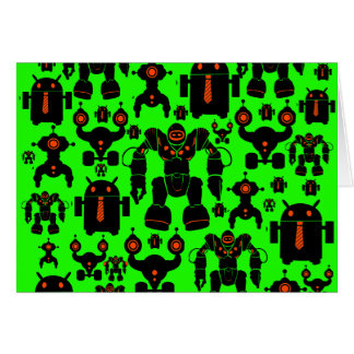 Robots Rule Fun Robot Silhouettes Lime Green Card