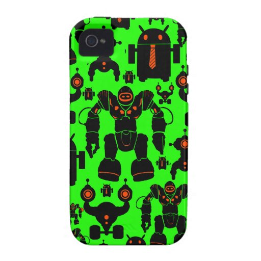 Robots Rule Fun Robot Silhouettes Lime Green Case-Mate iPhone 4 Cover