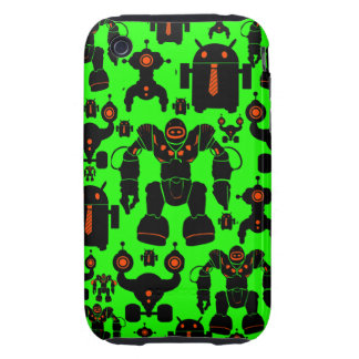 Robots Rule Fun Robot Silhouettes Lime Green iPhone 3 Tough Case