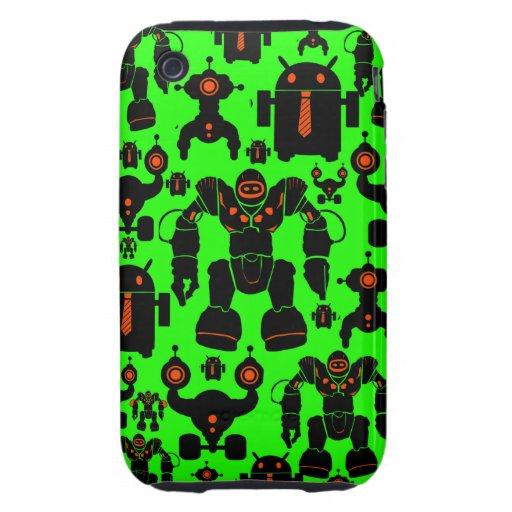 Robots Rule Fun Robot Silhouettes Lime Green iPhone 3 Tough Case