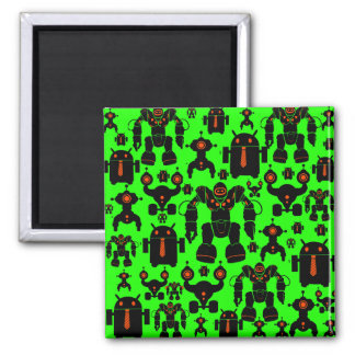 Robots Rule Fun Robot Silhouettes Lime Green Refrigerator Magnet