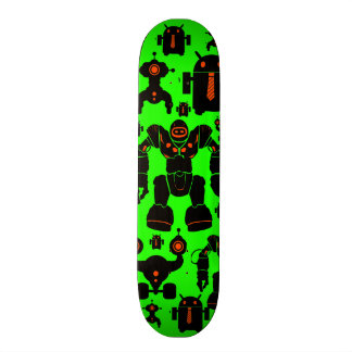 Robots Rule Fun Robot Silhouettes Lime Green Skateboards