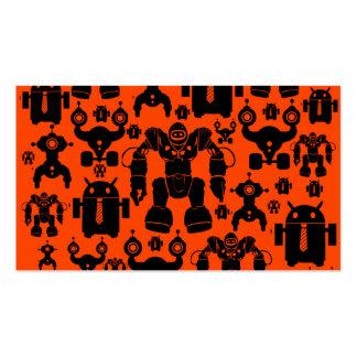 Robots Rule Fun Robot Silhouettes Orange Robotics Business Card Template