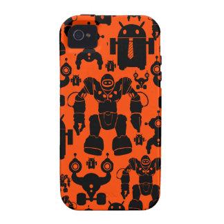 Robots Rule Fun Robot Silhouettes Orange Robotics iPhone 4/4S Case