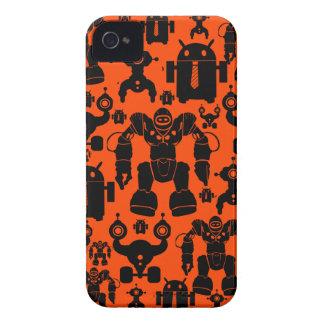 Robots Rule Fun Robot Silhouettes Orange Robotics iPhone 4 Covers