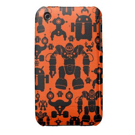 Robots Rule Fun Robot Silhouettes Orange Robotics iPhone 3 Covers