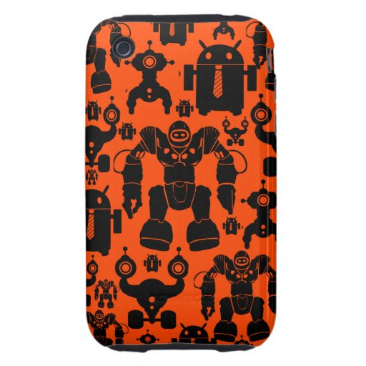 Robots Rule Fun Robot Silhouettes Orange Robotics iPhone 3 Tough Cases