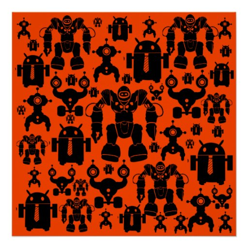 Robots Rule Fun Robot Silhouettes Orange Robotics Posters