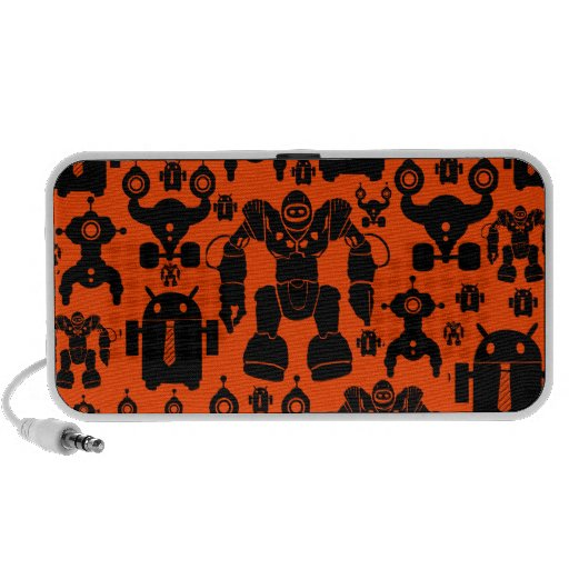 Robots Rule Fun Robot Silhouettes Orange Robotics iPod Speakers
