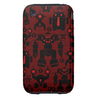 Robots Rule Fun Robot Silhouettes Red Robotics Tough iPhone 3 Cover