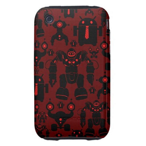 Robots Rule Fun Robot Silhouettes Red Robotics Tough iPhone 3 Cover