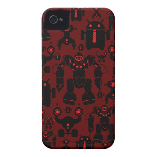 Robots Rule Fun Robot Silhouettes Red Robotics iPhone 4 Cases