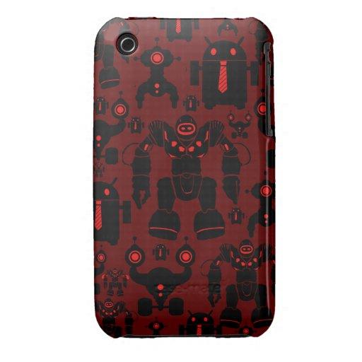 Robots Rule Fun Robot Silhouettes Red Robotics iPhone 3 Case-Mate Case