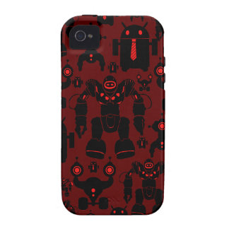 Robots Rule Fun Robot Silhouettes Red Robotics iPhone 4 Cover