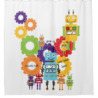 Robots Rule Science Technology Robotics Shower Curtain