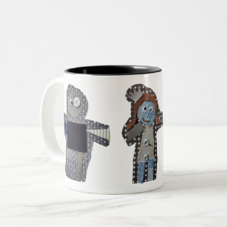 ROBOTS sarah, alma, otto Two-Tone Coffee Mug
