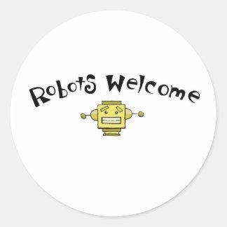 robots welcome round sticker