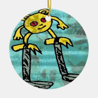 Robs little monster #2 ceramic ornament