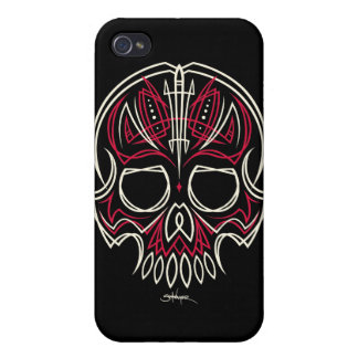 robschwager red pinstripe skull Iphone case iPhone 4/4S Cover