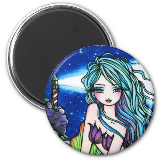 Rochelle Mermaid Fantasy Fairy Lighthouse 6 Cm Round Magnet