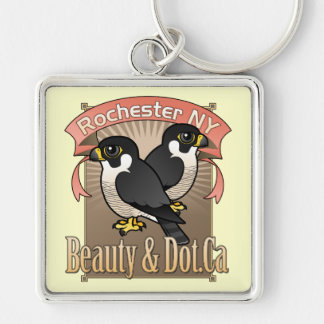 Rochester Beauty & Dot.Ca Silver-Colored Square Key Ring