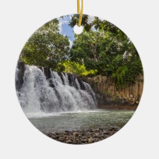 Rochester Falls waterfall in Souillac Mauritius Ceramic Ornament