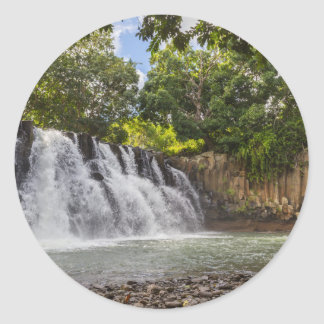 Rochester Falls waterfall in Souillac Mauritius Round Sticker