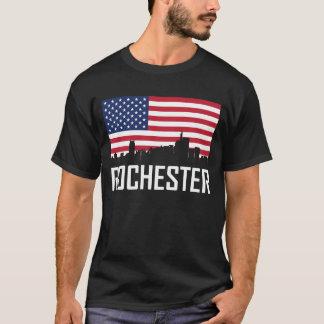 Rochester Michigan Skyline American Flag T-Shirt
